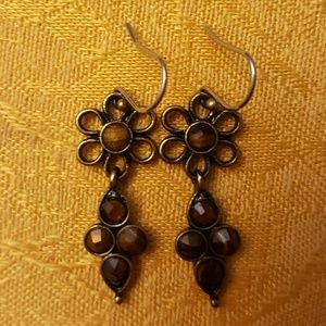 Jewelry - ❤3 for $15! Bronzed dangle earrings& amber stones